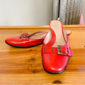KENNETH COLE - Red Buckle Baby Heel Mules - UK 4